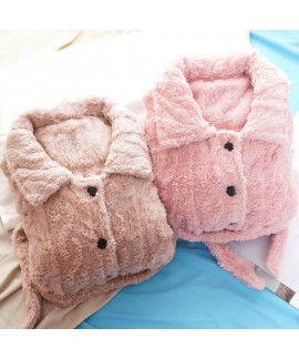 Thick Casual Cardigan Warm Flannel Suit Ladies Paj...