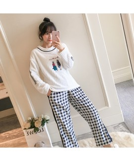 New Long Sleeve Cartoon Flannel Ladies Pajamas Suit For Winter