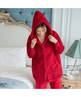 Double-sided Plush Long-sleeved Hooded Red Warm Pa...