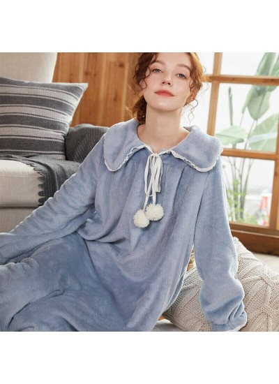 Women's Solid Color Thicken Turtleneck Lapel Long Flannel Nightdress For Winter