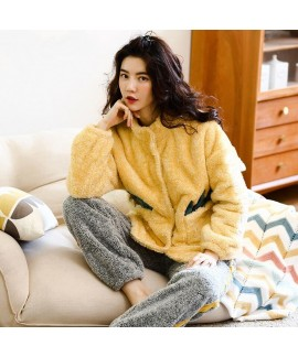 Cute Furry Cardigan Flannel Pajamas Suit For Whint...