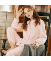 Sweet Cute Thick Warm Flannel Ladies Pajamas Set