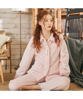 Sweet Cute Thick Warm Flannel Ladies Pajamas Set