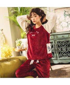 Red Cute Long Sleeve Ladies Flannel Pajama Set