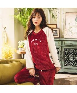 Red Cute Long Sleeve Ladies Flannel Pajama Set