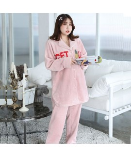 Plus Size Embroidered Long Sleeve Flannel Ladies s...