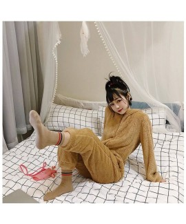 New Plus Velvet And Thick Hooded Mid-length Ladies Flannel Pajamas Set