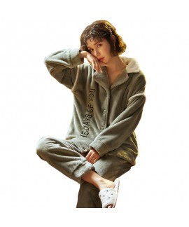 Thick Warm Two-piece Suit Green Lapel Loose Ladies Flannel Pajamas Suit