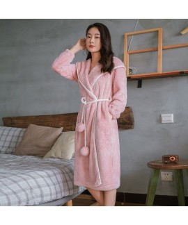 Thickened Rabbit Ears Long Warm Flannel Night Gown For Autumn And Winter