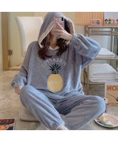 Warm Hooded Long Sleeve Oversized Flannel Pajamas ...
