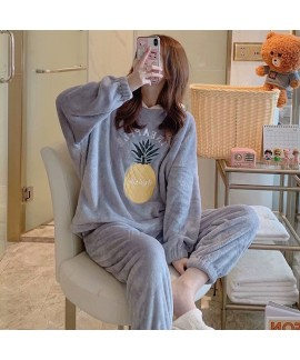 Warm Hooded Long Sleeve Oversized Flannel Pajamas For Winter