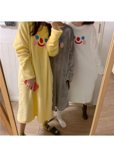 New Cartoon Smiling Face Embroidered Plush Cute Ladies Flannel Nightdress