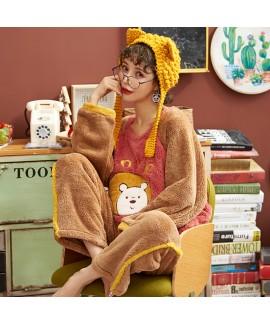 Sweet Flannel Ladies Pajamas Set For Winter