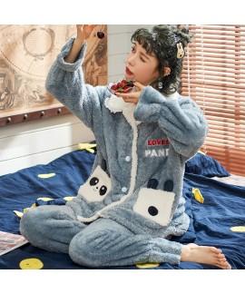 Warm Thickened Plus Velvet Rabbit long flannel Pajama Set