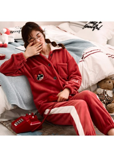 Warm Thickened Plus Velvet Ladies Flannel Pajamas Set For Spring And Autumn
