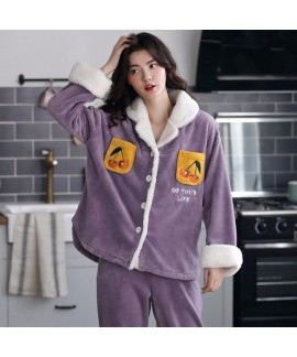 Thickened Plus Velvet Warmth Ladies Flannel Pajama...