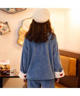 Thickened Plus Flannel Warm Spring And Autumn Ladies Pajamas Set