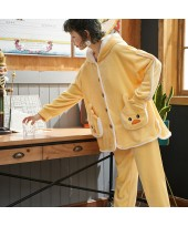 Thickened Flannel Ladies Pajama Suit For Spring An...