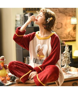 Thickened Orange Flannel 280g Loose Ladies Pajama ...