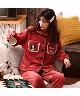 Thickened Plus Velvet Warm Flannel Ladies Pajamas Set For Spring And Autumn