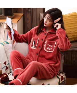Thickened Plus Velvet Warm Flannel Ladies Pajamas ...