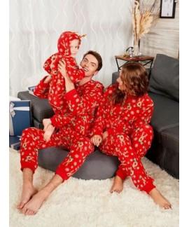 Comfy Red Christmas parent-child pajamas best cartoon printed pj sets