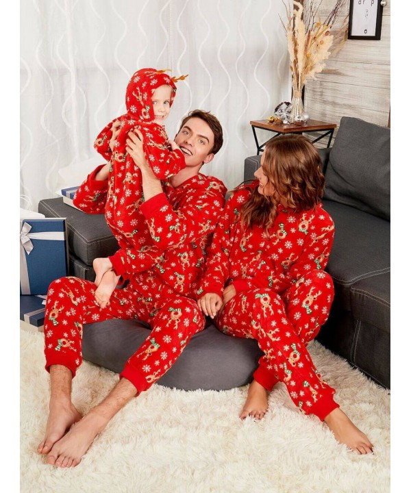 Comfy Red Christmas parent-child pajamas best cartoon printed pj sets