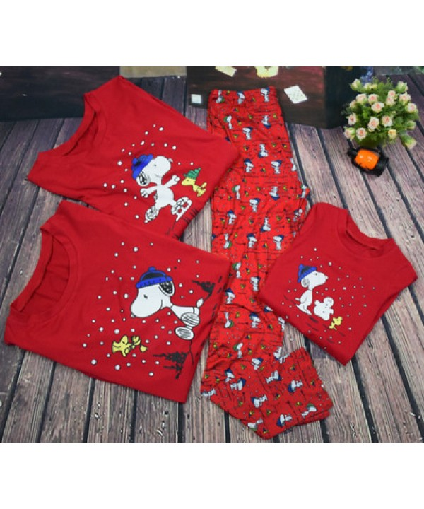 Cheap parent-child pajamas for Christmas printed comfy sleepwear can wear outside
