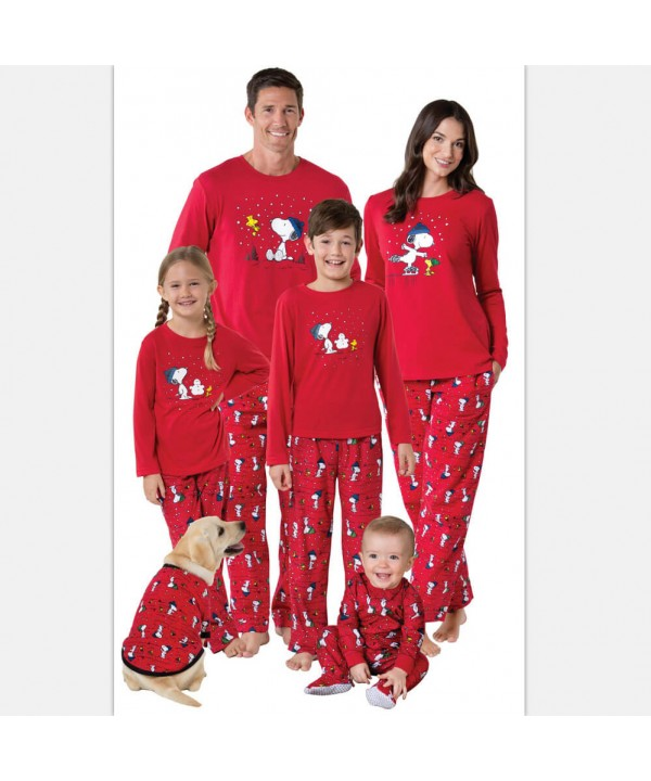 Cheap parent-child pajamas for Christmas printed c...