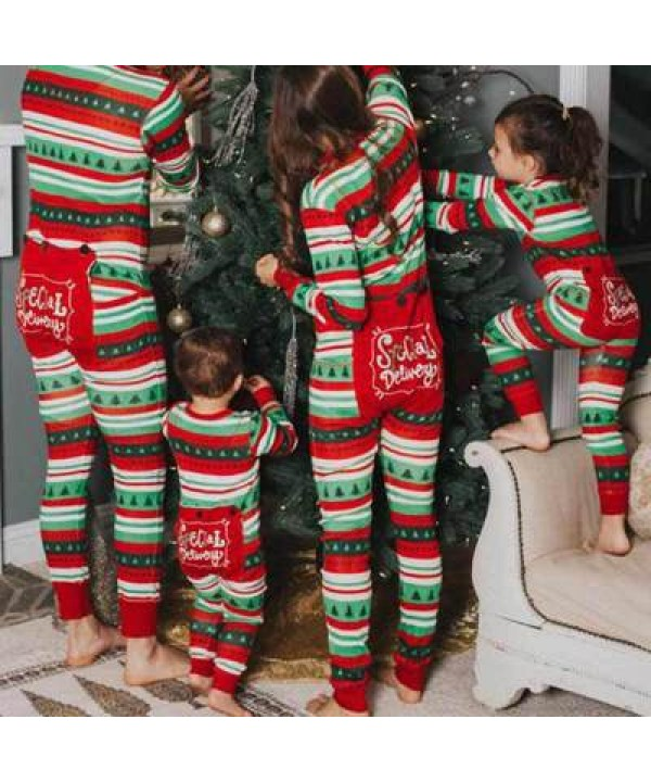 New style parent-child suit children's pajamas Striped Christmas tree printed Christmas Dress