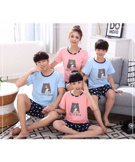 cotton parent-child pajamas short-sleeved family o...