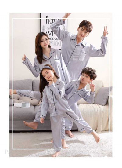 Mother and Daughter Family of Three Outfit Ice Silk Parent-child Pajamas
