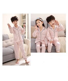 Autumn parent-child silk mother and daughter clothes ice simulation silk home service suit