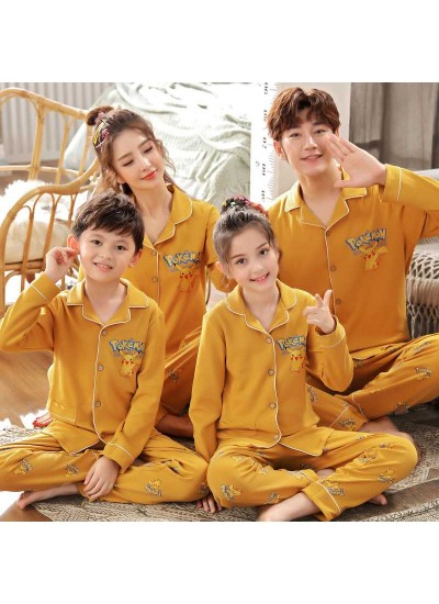 a family of three cotton clothing long-sleeved parent-child pajamas home service
