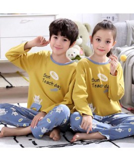Cartoon cotton long-sleeved family suit mother and...