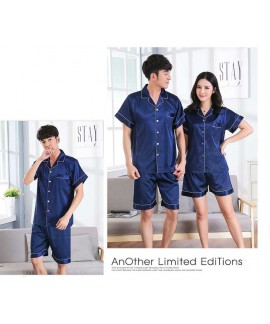 Short-sleeved casual family Suit Ice Silk Couple H...