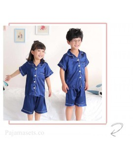 Short-sleeved casual family Suit Ice Silk Couple Home Service