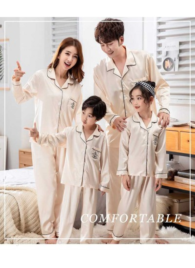 Champagne Gold Ice Silk Long-sleeved Air-conditioned Parent-child Clothing Family Suit