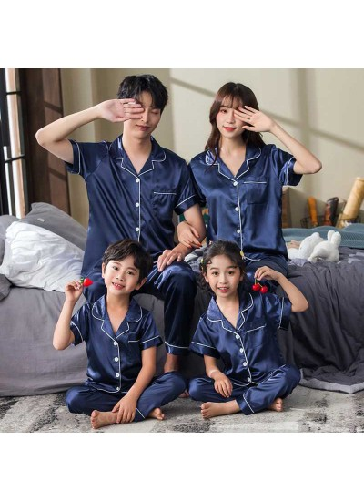Pink And Blue Strawberry Short-sleeved Thin Section Ice Silk Parent-child Pajamas Suit
