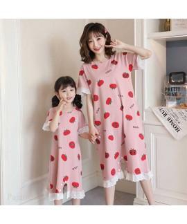 Nightdresses summer short-sleeved parent-child one...