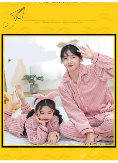 Children's flannel family wear thick Korean pajamas set home service