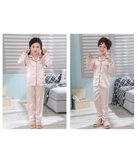 New pajamas for a family of three cartoon ice silk long-sleeved spring and autumn family suit