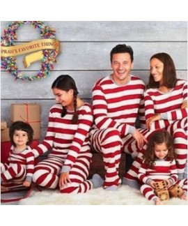 Christmas parent-child wear striped home wear paja...