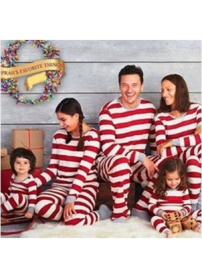 Christmas parent-child wear striped home wear pajamas two-piece set