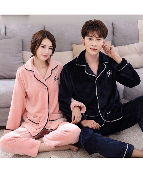 winter couples' cheap flannel pajamas thicken set pjs for men pyjamas sets women