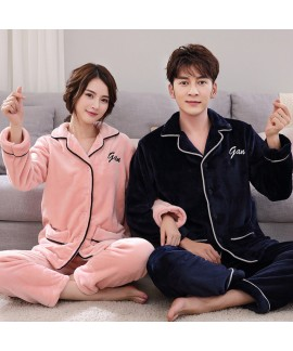 winter couples' cheap flannel pajamas thicken set ...