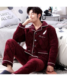 Long-sleeved warm flannel pajamas for men red/blue...