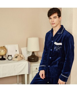 Winter flannel pajama suit for men
