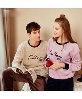 Women's Winter Couple Flannel pyjamas Suit Can be Weared Outside