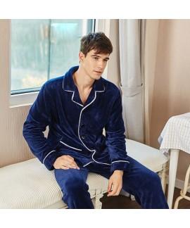 flannel long sleeve Men's cardigan pajamas warm an...